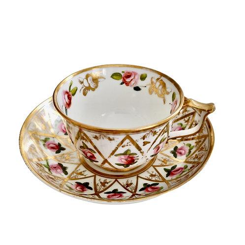 Bloor Derby teacup, Billingsley roses and gilt, 1820-1825