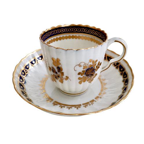 Caughley coffee cup, cobalt blue and gilt Broseley shape, ca 1785