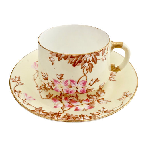 Teacup with Japanese blossoms, EJD Bodley ca 1885