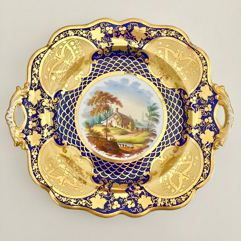 Rococo handled dinner plate, hand painted cottage scene, Ridgway 1825