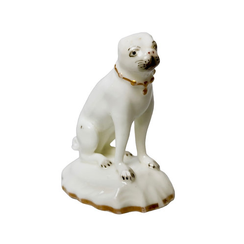 Rockingham pug dog on Rococo base, ca 1835