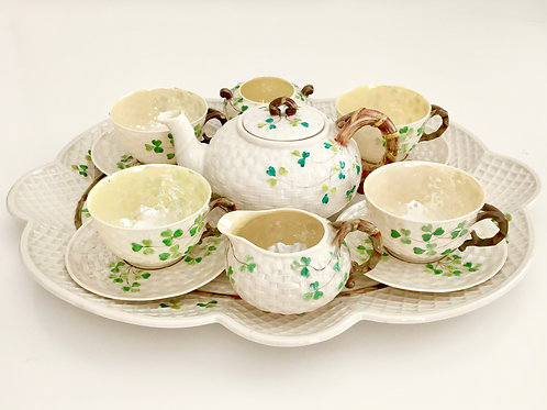 Cabaret tea set, Shamrocks, Belleek 1891-1926