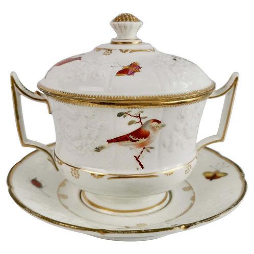 Paris écuelle / broth bowl, white with birds, butterflies, ca 1820 A/F