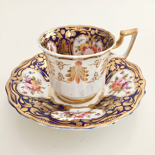 Coffee cup and saucer, cobalt blue, gilt and flowers, Ridgway 1825