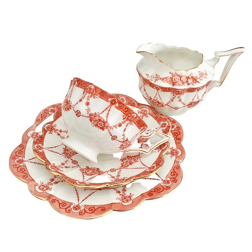 Tea for One set, red Floral Chains on Court shape, Wileman 1906
