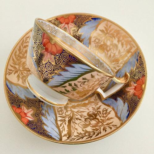 Ridgway teacup, peach, gilt & periwinkle and Imari, ca 1815