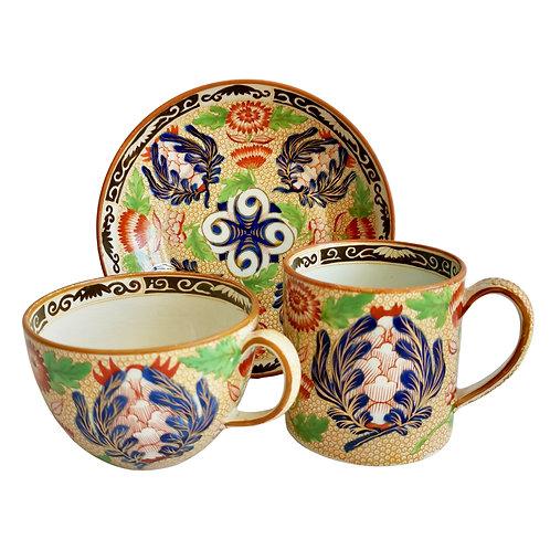 Wedgwood creamware trio, Chrysanthemum pattern, ca 1815