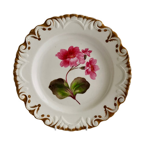 Machin moustache plate, white with pink flower, ca 1825