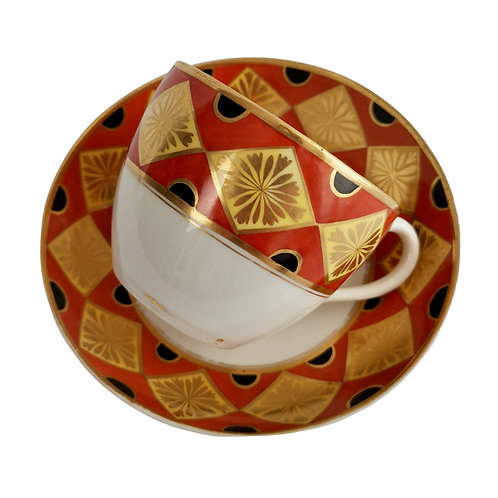 Coalport teacup, Neo-classical design red, yellow and black, ca 1805
