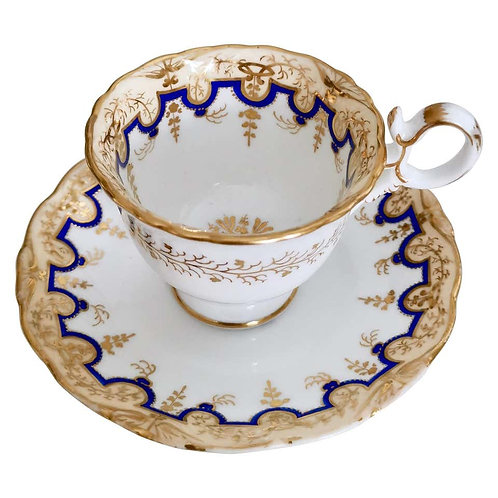 Coalport coffee cup and saucer, Adelaide shape, ca 1835