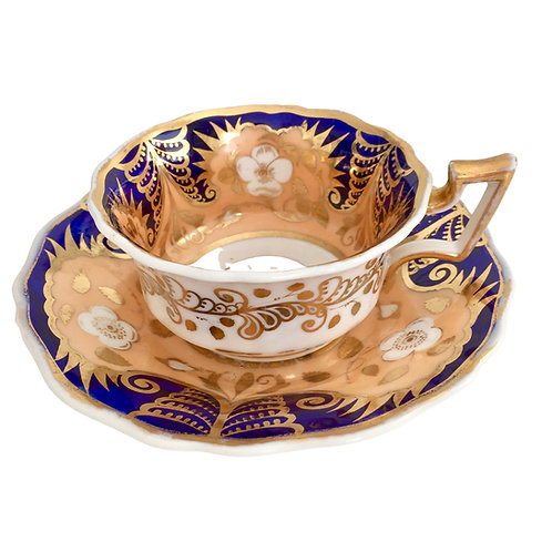 Teacup and saucer, cobalt blue, gilt and salmon, Ridgway ca 1825