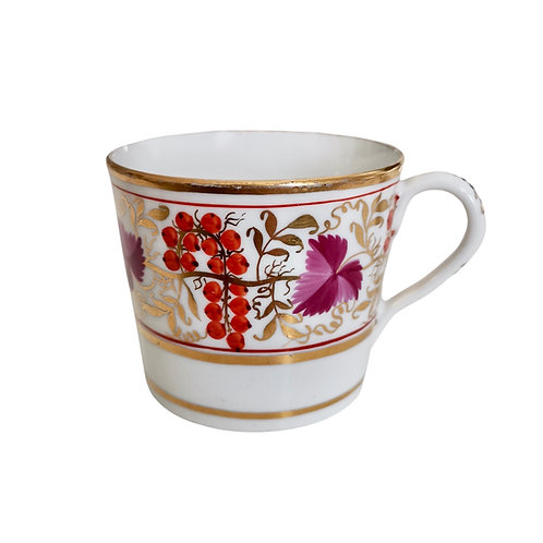 Coffee can orphan, Coalport Thomas Rose red and purple vines, ca 1805 (1)