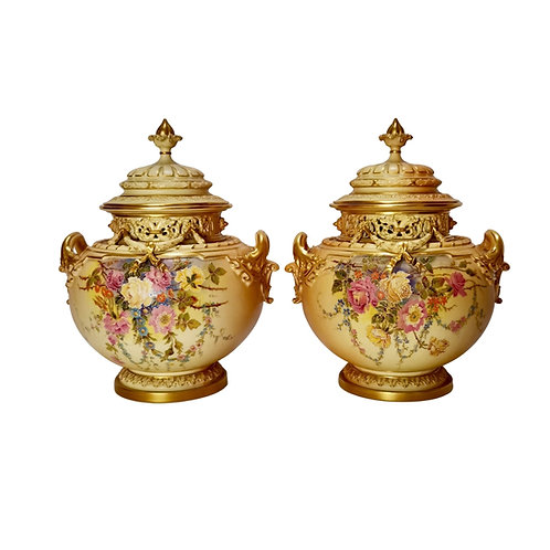 Royal Worcester set of 2 potpourris, blush ivory signed by W Hale, 1909