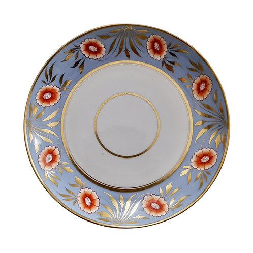 Spode saucer dish plate, periwinkle blue with orange flowers, ca 1815