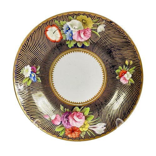 Spode saucer dish / plate, cobalt blue, gilt and flowers, ca 1816