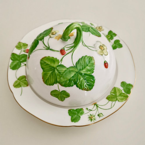 Minton muffin dish, moulded strawberries, 1855