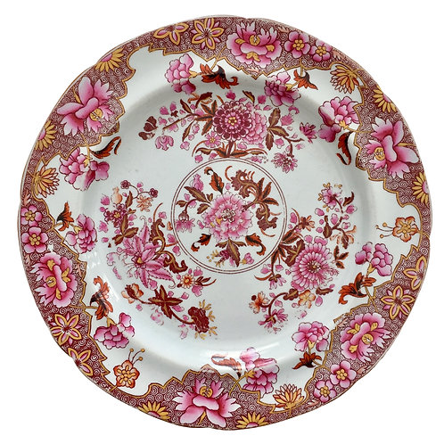 Spode stone china plate, pink Japan pattern 3144, 1812-1833