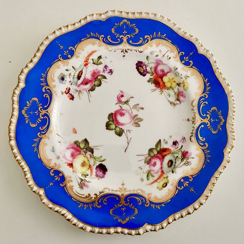 Coalport plate, blue gadrooned, hand painted flowers, 1820-1825