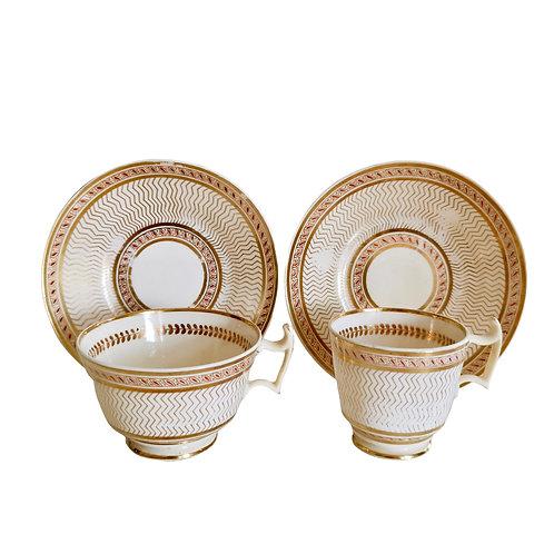 Creamware tea and coffeecup, poss. Anstice, Horton & Rose, ca 1815