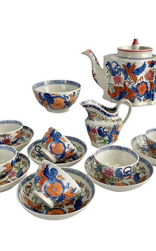 New Hall tea service, Chinoiserie patt. 272 flower sprays, ca 1795