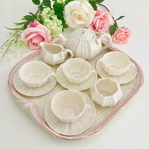 Cabaret tea set, cream Tridacna, Belleek 1891-1926