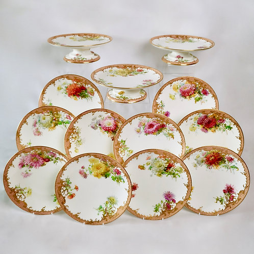 Signed Minton dessert service, Anton Connelly chrysanthemums, 1894