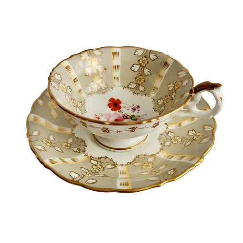 Samuel Alcock teacup, grey striped with flower Rococo Revival ca 1845