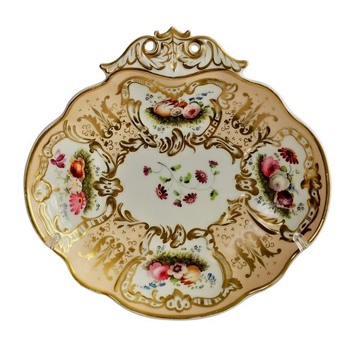Davenport serving dish, salmon, gilt and flowers, ca 1830