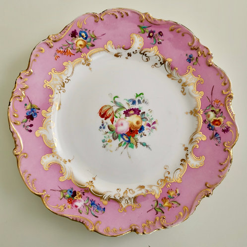 Coalport dessert plate, pink with hand painted flowers, ca 1840