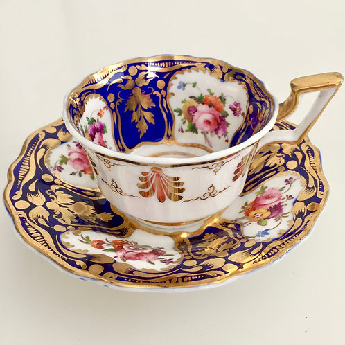 Teacup and saucer, cobalt blue, gilt and flowers, Coalport ca 1825