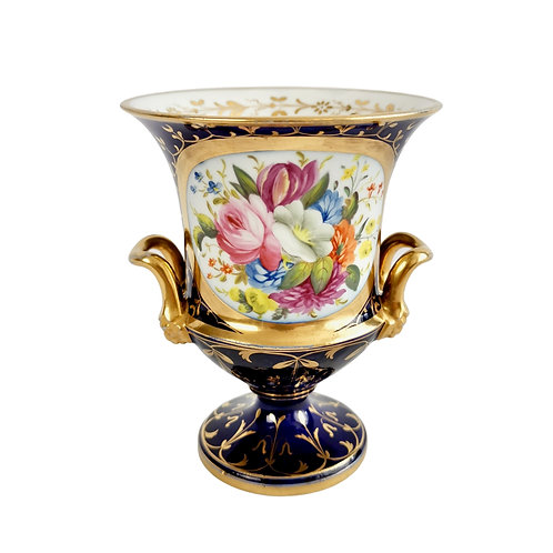 Coalport campana vase, cobalt blue, gilt and flowers, Regency ca 1815