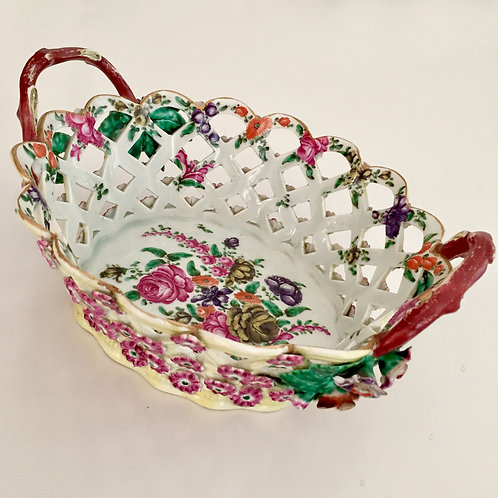 Rare Worcester chestnut basket with applied and painted flowers, ca 1770