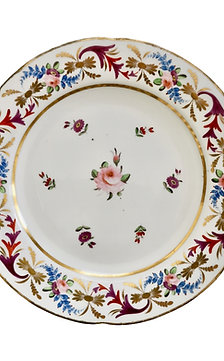 John Rose Coalport plate, Improved Feldspar with Regency pattern, ca 1825