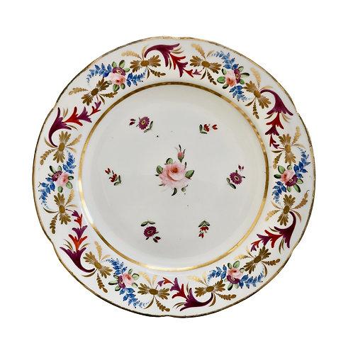 John Rose Coalport plate, Improved Feldspar with Regency pattern, ca 1825