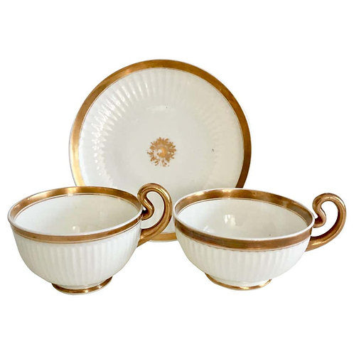 Swansea trio, Paris Fluted teacup and breakfast cup, ca 1820