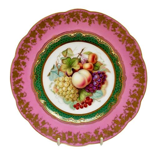 Coalport plate, rose du barry pink, fruits by Jabey Aston, ca 1870