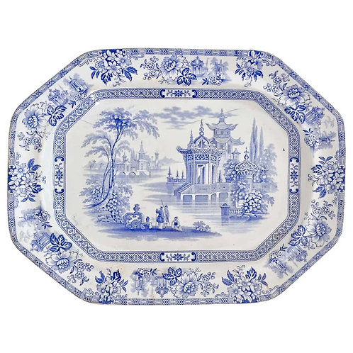 """Meat platter """"Madras"""", blue and white transfer, Wood & Brownfield 1841-1850"""