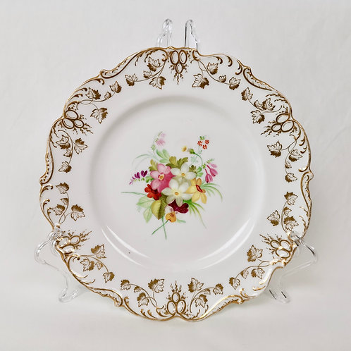 Coalport dessert plate, white with handpainted flowers 4/966, ca 1840