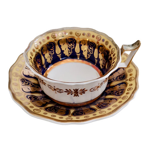 Ridgway breakfast cup and saucer, cobalt blue, gilt and yellow, ca 1825