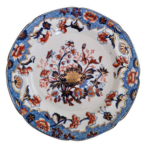 Spode small plate, Bang-Up pattern with Ship border, New Stone China, 1822-1833