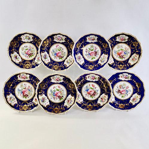 Set of 8 Bloor Derby dessert plates, 1825-1830