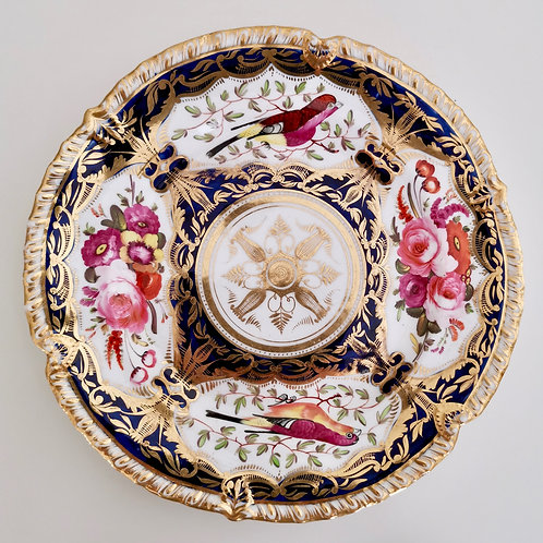 Coalport dessert plate, patt. 759 birds and flowers, gadrooned rim, ca 1825