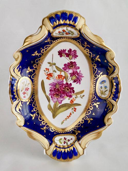 Ridgway serving dish, moustache shape with sublime flowers, ca 1825 (2)
