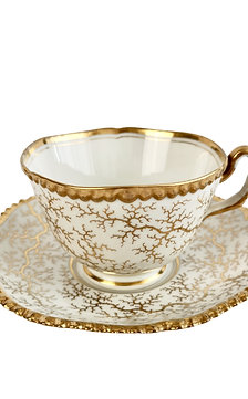 Flight Barr and Barr teacup, gilt seaweed pattern, ca 1820