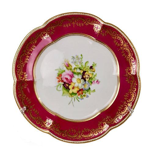 Coalport dessert plate, maroon with flowers by Thomas Dixon, ca 1860