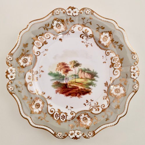 Ridgway plate, landscape on daisy moulding, ca 1830 A/F
