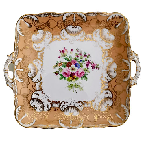 Staffordshire cake plate, peach with flowers, ca 1835