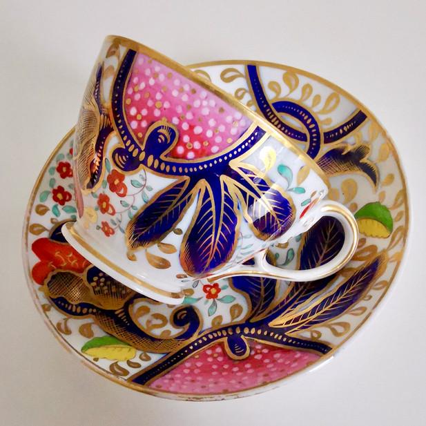 John Rose Coalport teacup with serpent handle