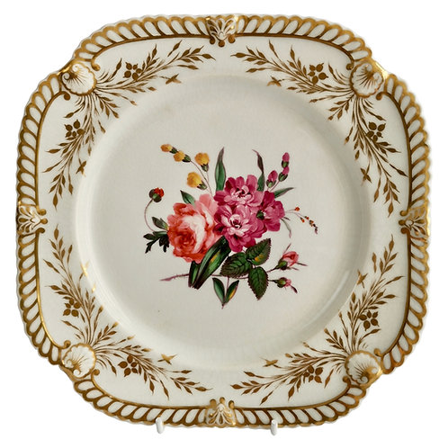 Dessert plate Chamberlains Worcester, white with flowers, ca 1822 (2)