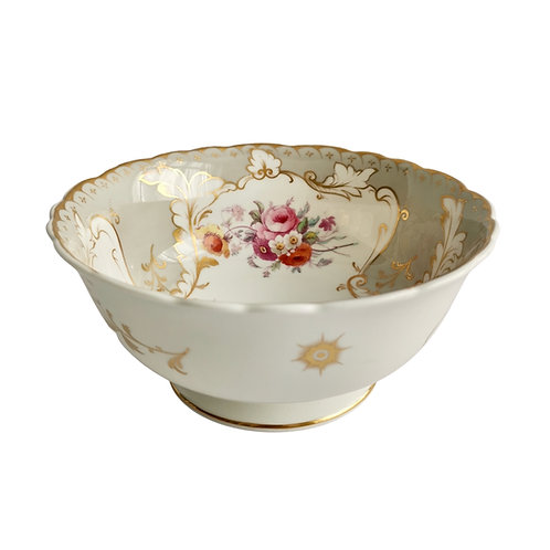 Ridgway slop bowl, grey, printed and hand coloured flowers, ca 1835